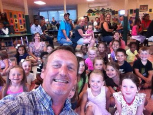 Even Mr. D couldn't resist this selfie with his new kindergarten friends!